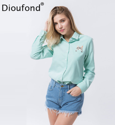 434e5ef5b0eaa0 Dioufond Cat Embroidery Long Sleeve Women Blouses And Shirts White Blue  Female Ladies Casual Shirt Tops Plus Size Blusas Blouse